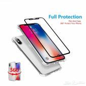 حماية ايفون X نانو مقاوم للكسر مع كفر شفاف