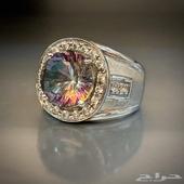 خاتم فضه بحجر الكوارتز الطبيعي قمة بالفخامة