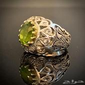 خاتم فضه بحجر الزبرجد قمة الفخامة