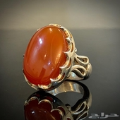 للبيع خاتم بحجر العقيق اليماني