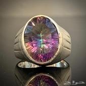 للبيع خاتم فضه بحجر الكوارتز متعدد الالوان