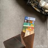 محفظة بطاقات جلد طبيعي