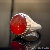 للبيع خاتم عقيق يماني رماني زجاجي