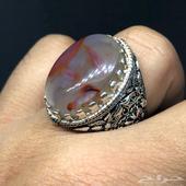 مزاد لمدة 12 ساعة فقط على خاتم فضة بحجر عقيق ثلجي زعفراني
