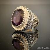 خاتم فضه بحجر الالكسندرايت الطبيعي
