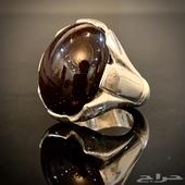 خاتم فضه بحجر الجارنيت النجمي