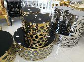 طاولات تقديم مزخرفه ذهبي وفضي